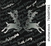 card with christmas deers on... | Shutterstock .eps vector #760689361