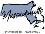 hand drawn massachusetts state... | Shutterstock .eps vector #760689517