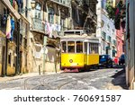 vintage tram in the city center ... | Shutterstock . vector #760691587