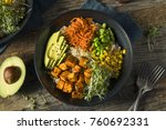 healthy organic tofu and rice... | Shutterstock . vector #760692331