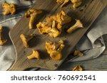 raw orange organic chanterelle... | Shutterstock . vector #760692541