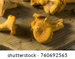 raw orange organic chanterelle... | Shutterstock . vector #760692565
