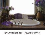 romantic bathtub and fixtures....   Shutterstock . vector #760694944