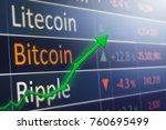bitcoin exchange concept with... | Shutterstock . vector #760695499