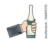 bottle champagne vector... | Shutterstock .eps vector #760695751