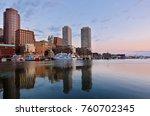 boston harbor at sunrise... | Shutterstock . vector #760702345