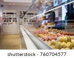 different types of macaroons on ... | Shutterstock . vector #760704577