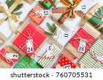christmas calendar with gifts... | Shutterstock . vector #760705531