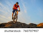 cyclist in red t shirt riding... | Shutterstock . vector #760707907