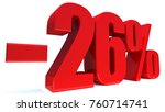 minus 26 percent off 3d sign on ... | Shutterstock . vector #760714741
