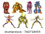 powerful battle robots... | Shutterstock .eps vector #760718455