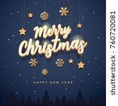 merry christmas text design.... | Shutterstock .eps vector #760720081
