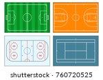 set of sports play fields.... | Shutterstock .eps vector #760720525