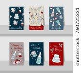 set of merry christmas mini... | Shutterstock .eps vector #760725331