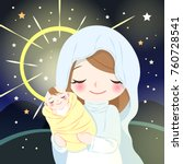cute cartoon virgin mary with... | Shutterstock .eps vector #760728541
