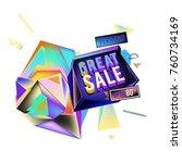 vector abstract 3d great sale... | Shutterstock .eps vector #760734169