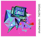 vector abstract 3d great sale... | Shutterstock .eps vector #760734181