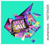 vector abstract 3d great sale... | Shutterstock .eps vector #760734205
