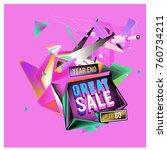 vector abstract 3d great sale... | Shutterstock .eps vector #760734211