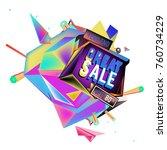 vector abstract 3d great sale... | Shutterstock .eps vector #760734229
