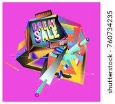 vector abstract 3d great sale... | Shutterstock .eps vector #760734235