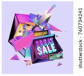 vector abstract 3d great sale... | Shutterstock .eps vector #760734241
