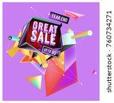 vector abstract 3d great sale... | Shutterstock .eps vector #760734271