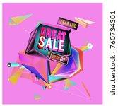 vector abstract 3d great sale... | Shutterstock .eps vector #760734301