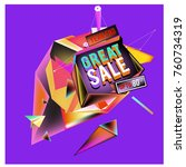 vector abstract 3d great sale... | Shutterstock .eps vector #760734319