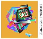 vector abstract 3d great sale... | Shutterstock .eps vector #760734325