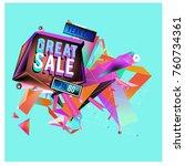 vector abstract 3d great sale... | Shutterstock .eps vector #760734361