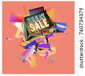 vector abstract 3d great sale... | Shutterstock .eps vector #760734379