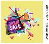 vector abstract 3d great sale... | Shutterstock .eps vector #760734385