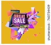 vector abstract 3d great sale... | Shutterstock .eps vector #760734439