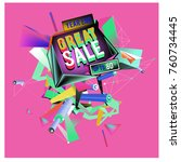 vector abstract 3d great sale... | Shutterstock .eps vector #760734445