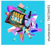 vector abstract 3d great sale... | Shutterstock .eps vector #760734451