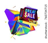 vector abstract 3d great sale... | Shutterstock .eps vector #760734715