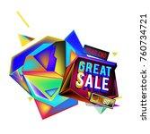 vector abstract 3d great sale... | Shutterstock .eps vector #760734721