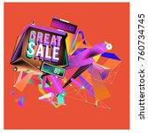 vector abstract 3d great sale... | Shutterstock .eps vector #760734745