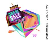 vector abstract 3d great sale... | Shutterstock .eps vector #760734799