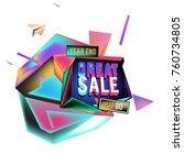 vector abstract 3d great sale... | Shutterstock .eps vector #760734805