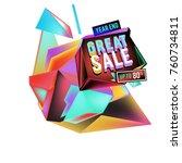 vector abstract 3d great sale... | Shutterstock .eps vector #760734811