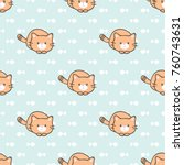 Stock vector seamless pattern of cute cartoon cat design on pastel green background with hand drawn fish 760743631