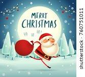 merry christmas  santa claus... | Shutterstock .eps vector #760751011