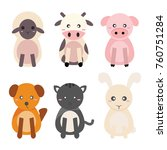 cute animal farm vector | Shutterstock .eps vector #760751284