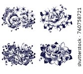 collection of flowers | Shutterstock . vector #760758721
