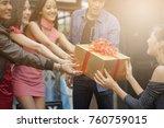 happy beautiful girls and boys ... | Shutterstock . vector #760759015
