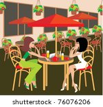 two young woman in cafe. vector ... | Shutterstock .eps vector #76076206