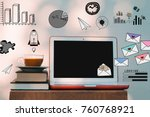 laptop computer mockup with... | Shutterstock . vector #760768921