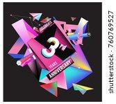 vector 3rd anniversary logo... | Shutterstock .eps vector #760769527